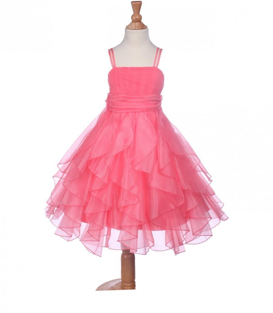 Hochzeit - Elegant Stunning Coral Organza Flower girl dress princess pageant wedding bridal bridesmaid toddler size 12-18m 2 4 6 6x 8 9 10 12 14 #151