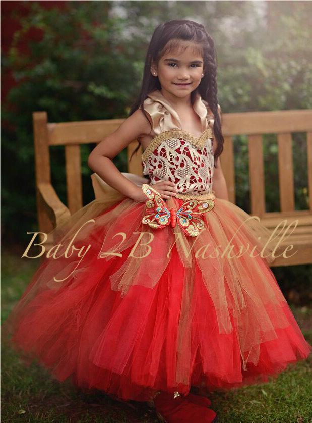 Christmas Flower Girl Dress In Red And Gold, Wedding Flower Girl ...