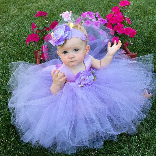 Flower Girl Dress Tutu Lavender Baby Flower Girl Dress - Tutu ...