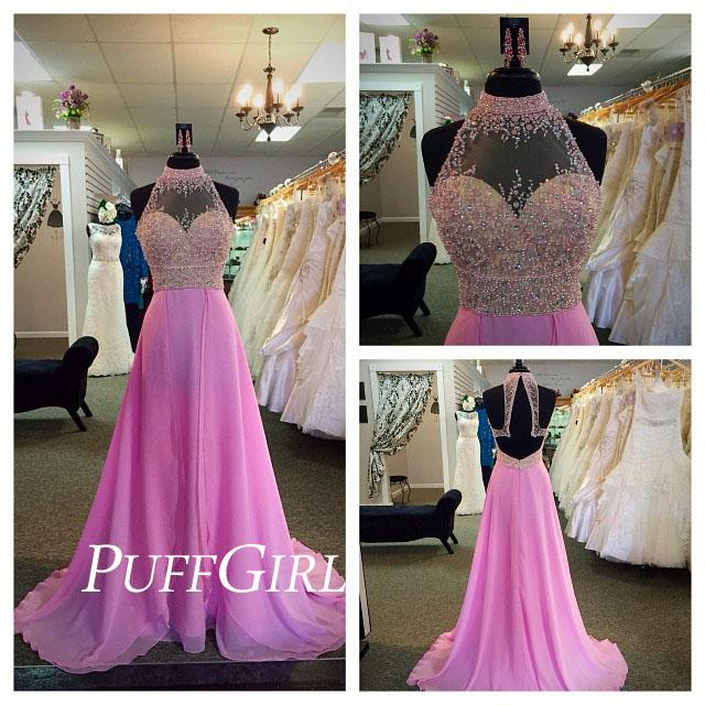 Hochzeit - Pink Sheer High Neck Hater Prom Gown With Beaded Bodice