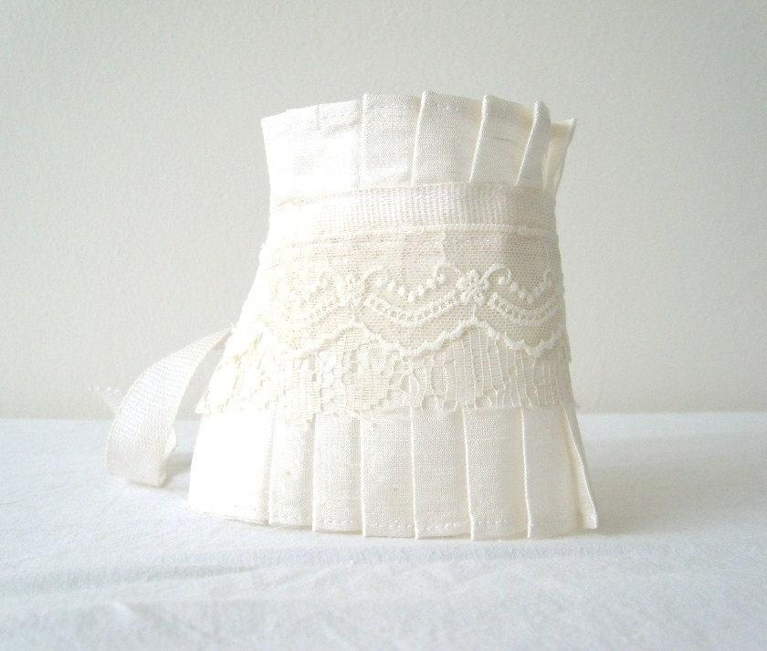 Mariage - Bridal Cuff Bracelet White Shantung Silk Ruffle Cuff with Lace