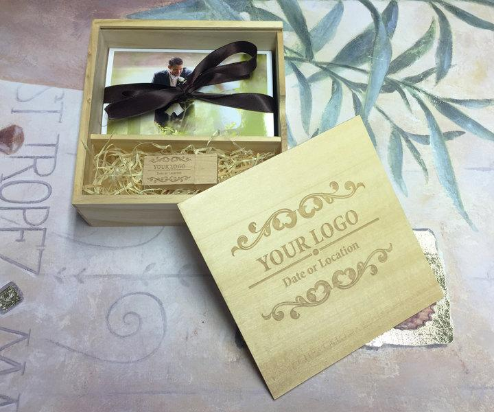 Mariage - 1 Wooden Block USB & Large Wooden Photo Prints USB Gift Box - Engraved with Your Personalised Logo