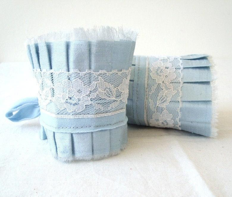 Mariage - Pale Dusk Blue Acqua Dupioni Silk Ruffle Cuff with White Vintage  Lace - Set of 2 - Wedding Cuffs - Something Blue - by OnePerfectDay