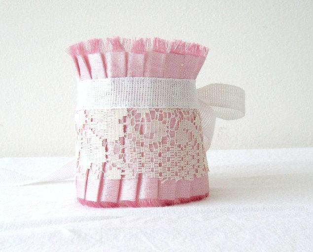 Mariage - Pastel Blush Pink Shantung Silk Ruffle Cuff with Antique White Lace by OnePerfectDay