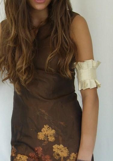 Mariage - Golden Siren Silk Ruffle Armband Cuff Bridal Bride Fall Autumn Wedding Accessory