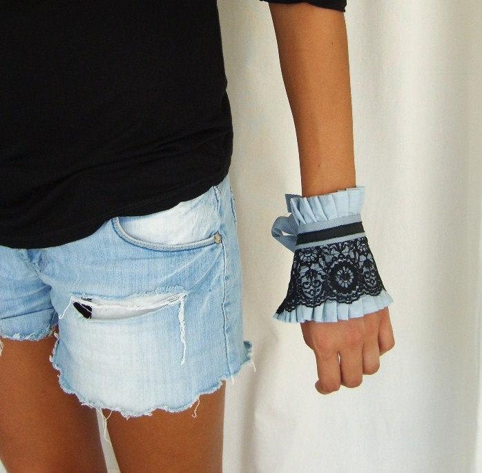 Mariage - Fabric Bracelet Cuff  - Black Lace on Ice Blue Ruffle Cuffby  by OnePerfectDay
