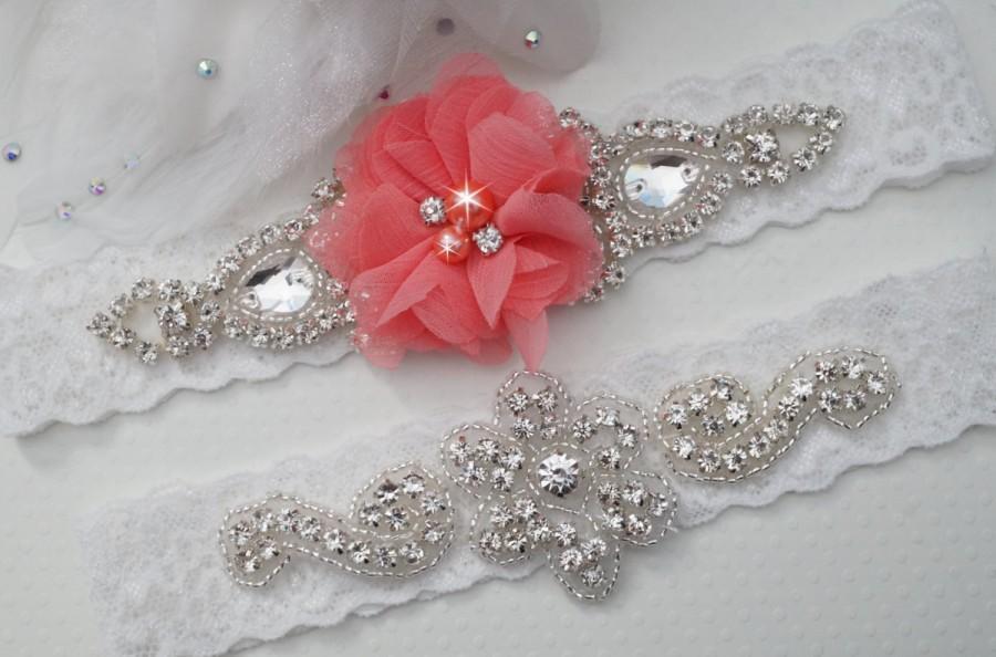 Coral Wedding Garters Bridal Garter Set Custom