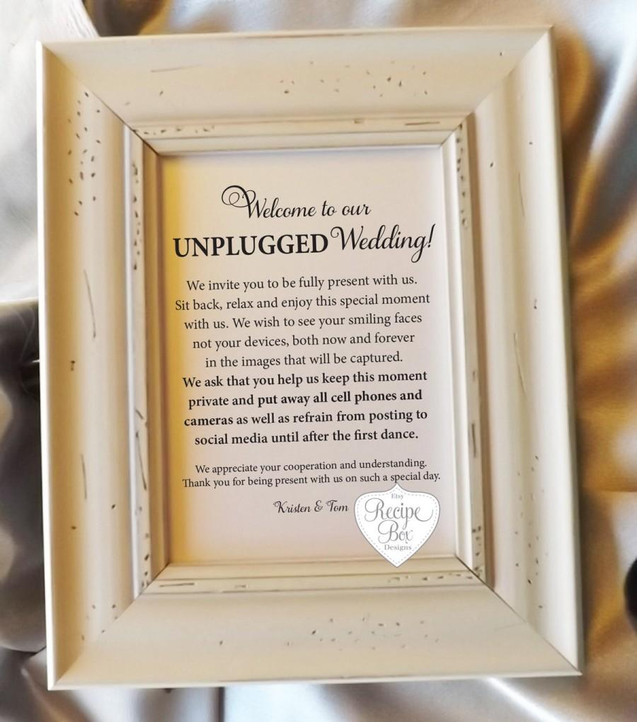 unplugged wedding sign 8x10 unplugged sign for weddings wedding signage no cell phone no photos