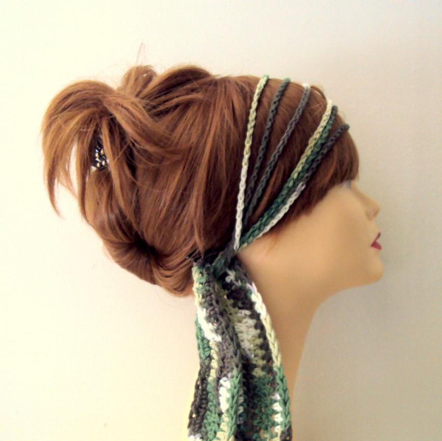 Crochet Hair Wrap : Boho Headband Cotton Chain Headband Crochet Hair Wrap Yoga Fitness ...