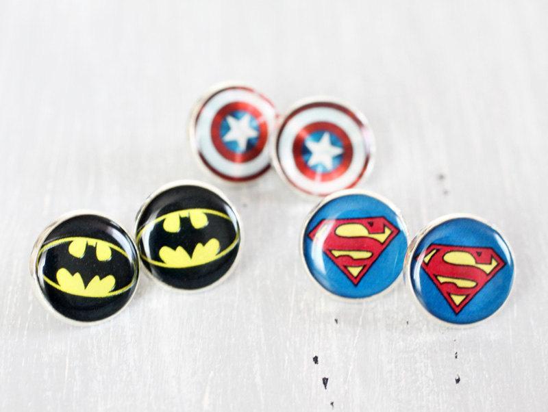 Wedding - Wedding earrings studs - set of 3 Bridesmaid gifts - Comic Superhero - Superman, Batman, Captain America