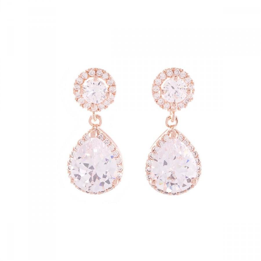 Wedding - Rose Gold Earrings , Bridal Crystal Earrings, Rose Gold Wedding Earrings, Teardrop Crystal Earrings ,Wedding Jewelry