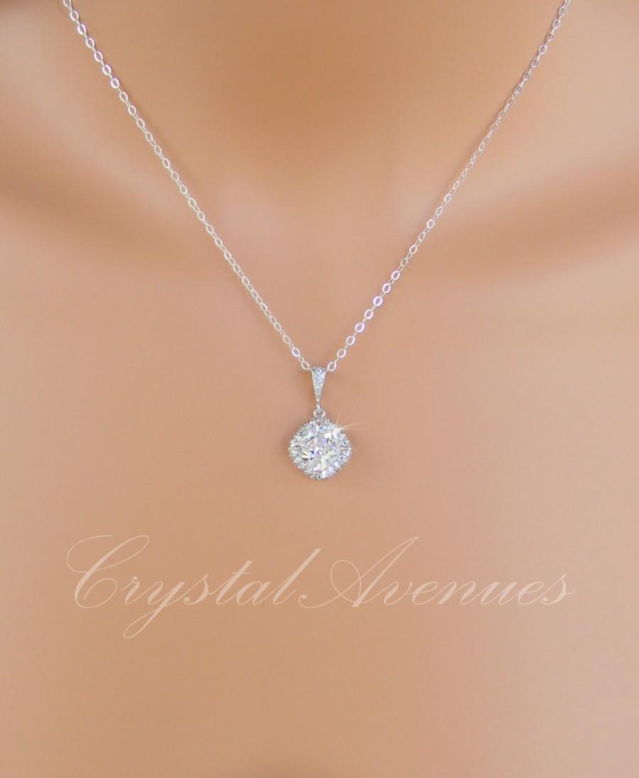 Crystal Bridal Necklace Cushion Cut Swarovski Crystal Pendant Blue
