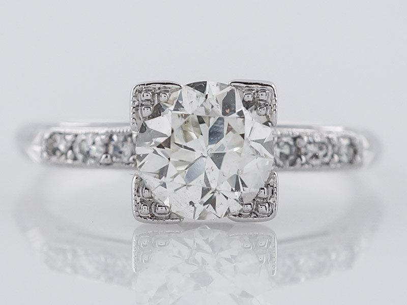 Hochzeit - 1930's Engagement Ring .94ct Old European Cut Diamond in 18k White Gold