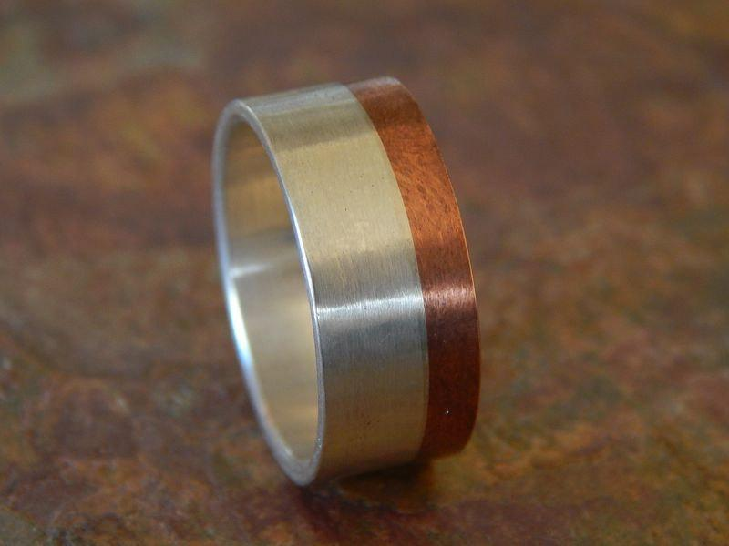 زفاف - MOONLIGHT Silver & Copper Wedding Band // Men's Wedding Band // unique wedding band // rustic wedding band // in 1/4 sizes // 9mm
