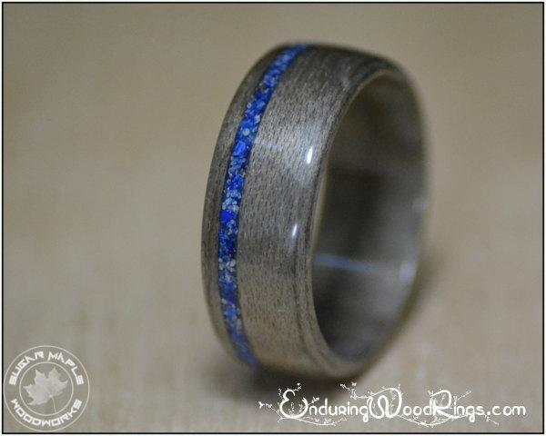زفاف - Grey Maple Wood Ring with Lapis Inlay, mens rings, mens engagement rings, anniversary gift for him, mens wedding bands, 4th anniversary gift