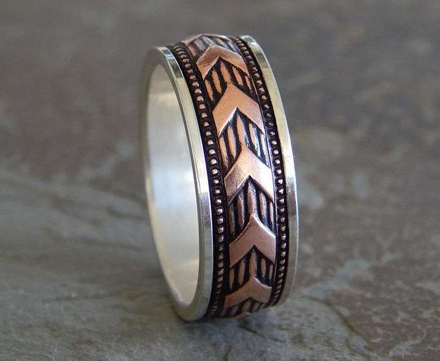 زفاف - SARGENT Silver & Copper Men's Wedding Band // unique wedding ring // rustic wedding ring // in 1/4 sizes