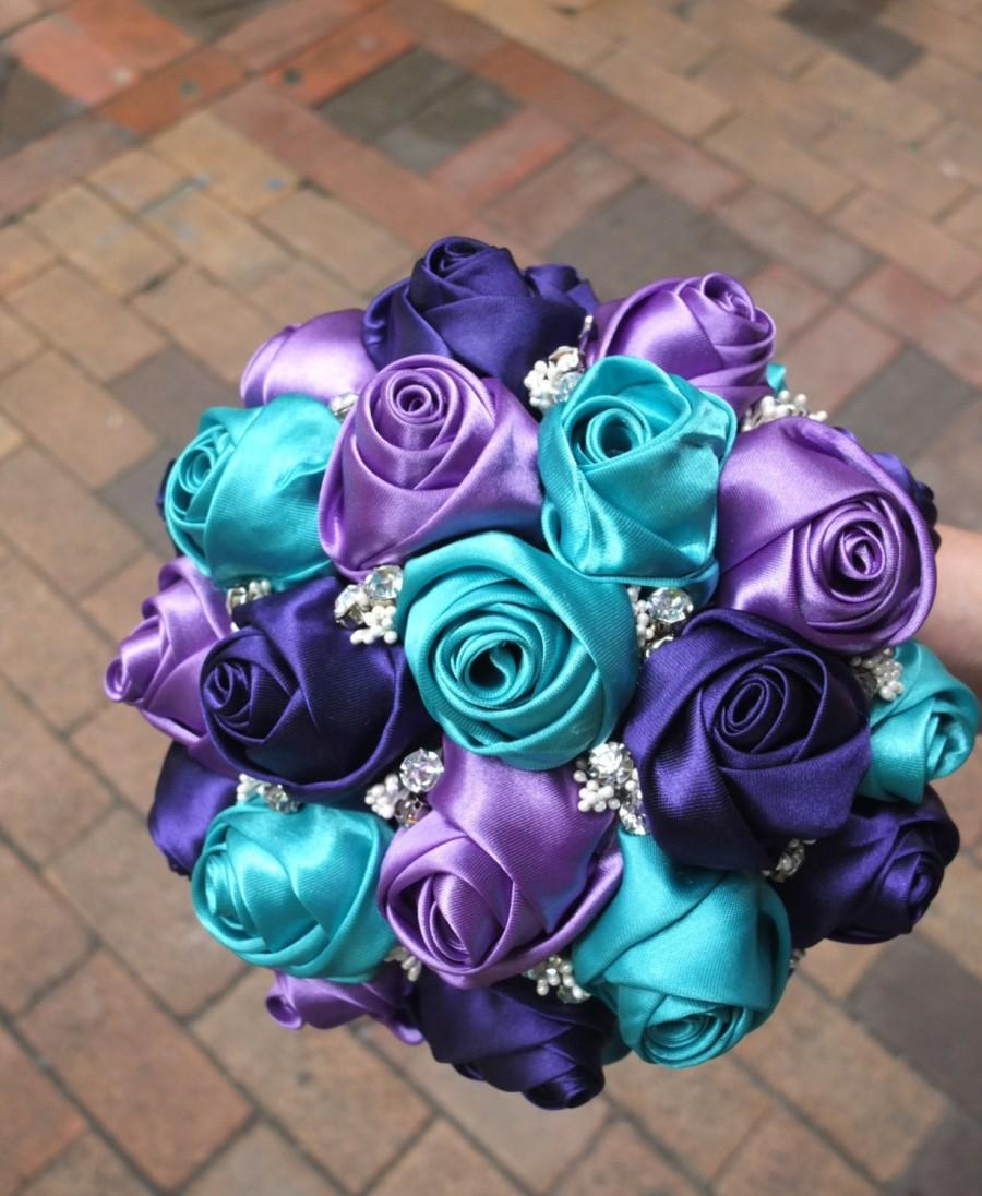 Wedding - Fabric Bouquet, Peacock bouquet, Satin Rose Bouquet- Purple & Teal Flower accented with rhinestone (Large, 9 inch)