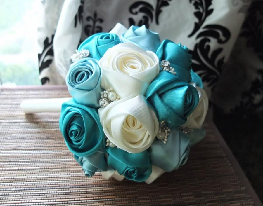 Wedding - Ribbon Rose Bouquet, Satin Rose Bouquet, Ivory & Teal Flower accented with rhinestone (Large, 9 inch)
