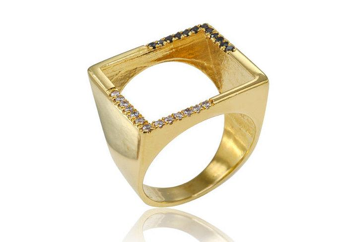 زفاف - Unique Engagement Ring, Open Diamond Ring, Pave Diamond Ring, Wedding Band, Diamond Signet Ring, Square Diamond Ring
