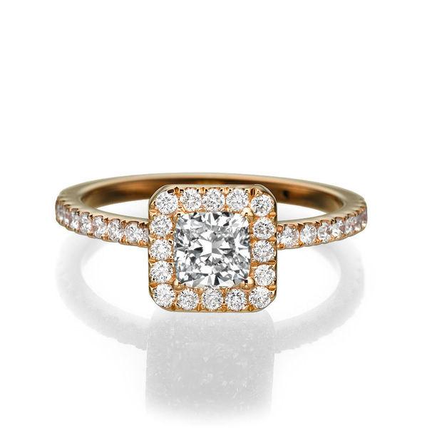 Mariage - Princess Cut Diamond Engagement Ring, 14K Rose Gold Ring, Halo Engagement Ring, 1.16 TCW Diamond Ring Setting, Halo Ring