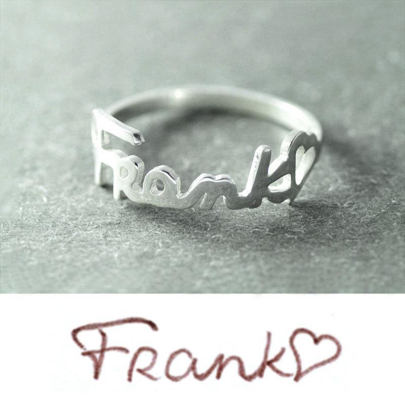 زفاف - Free shipping - Personalized Signature ring, Your Handwriting Jewelry, Custom ring, Handwriting ring  Silver Name ring new year gift