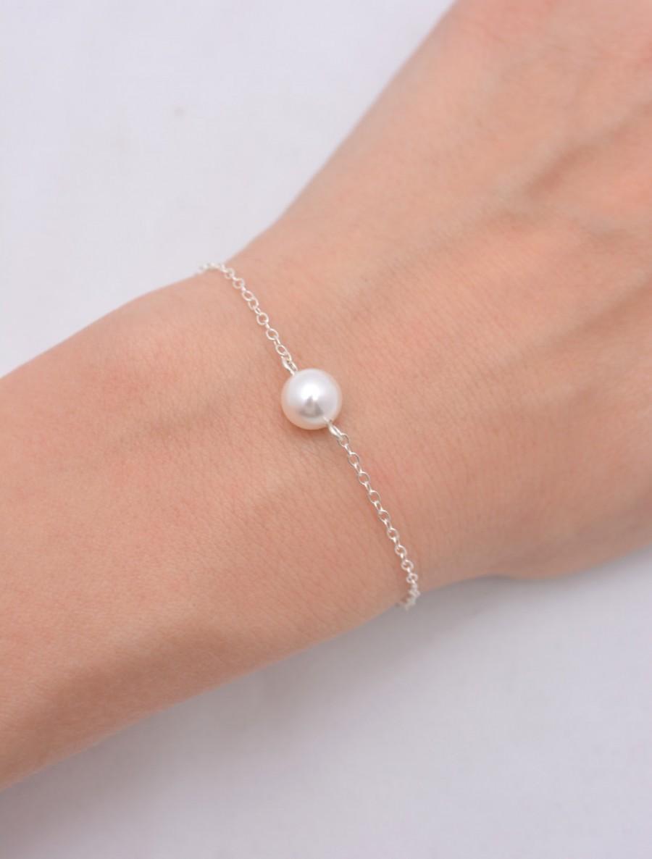 زفاف - Single Pearl Bracelet, Sterling Silver Bracelet, One Pearl Bracelet, Bridesmaid Bracelet, Floating Pearl Bracelet, Bridal Bracelet 0165