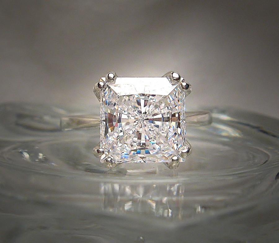 زفاف - Precision Cut Princess Slightly Warm White 9mm Cubic Zirconia Eight Prong Sterling Silver or 14k Gold Ring Made to Order
