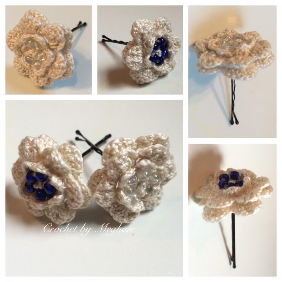 Crochet Hair Pins : Wedding Hair Accessories , Bobby Pins, Vintage Crochet Thread, Beaded ...