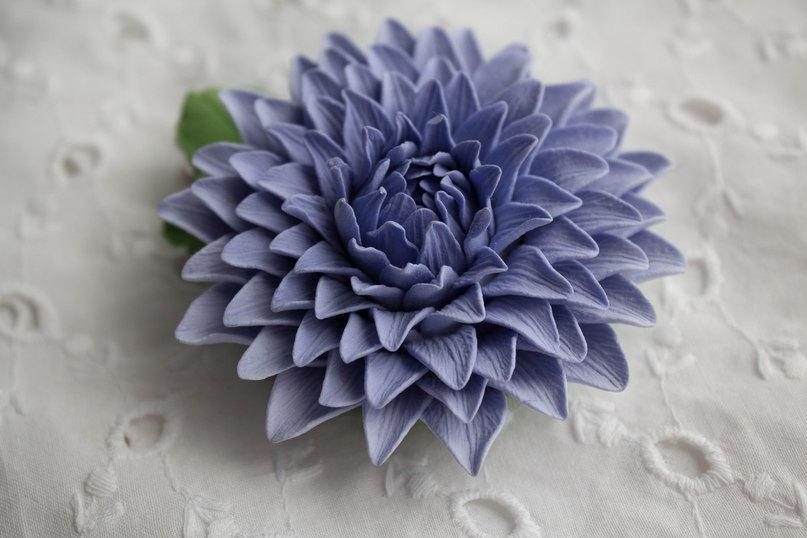 Wedding - Hair clip polymer clay flower. Dahlia.