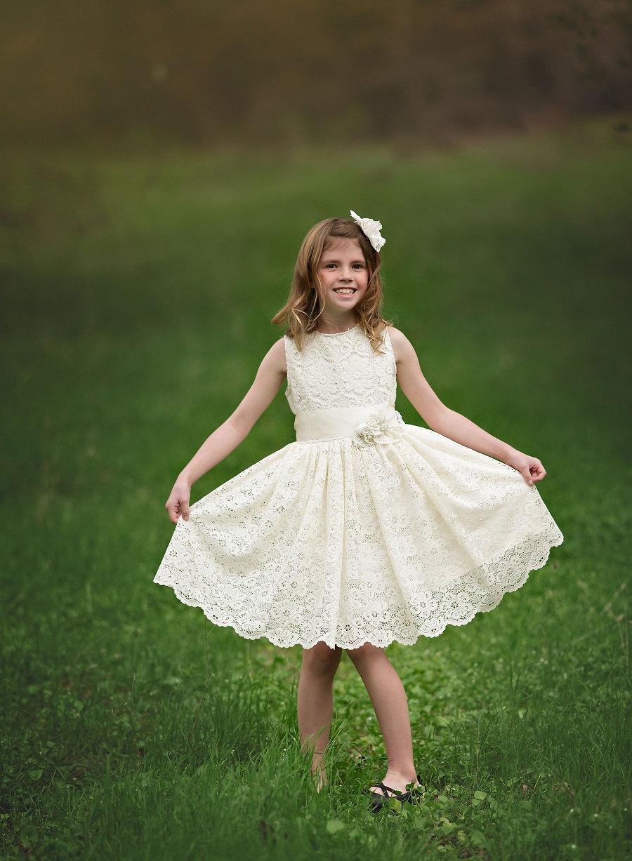 زفاف - Ivory Lace Flower Girl Dress , Vintage Lace Flower Girl Dress,Boho Ivory Flower Girl Dress, Flower Girl Dress Ivory, Lace Flower Girl Dress,