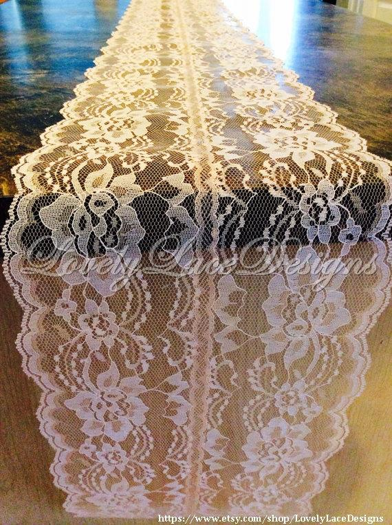 Wedding - 5ft Peach Lace Table Runner, 8in Wide/ Lace Table Overlay/ Wedding Decor/etsy finds/Rustic weddings/tabletop decor/