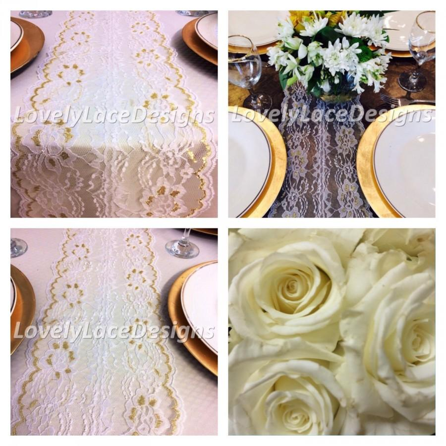 Christmas Lace Table Runner Whitegold 5ft 10ft X 8in Wide Gold