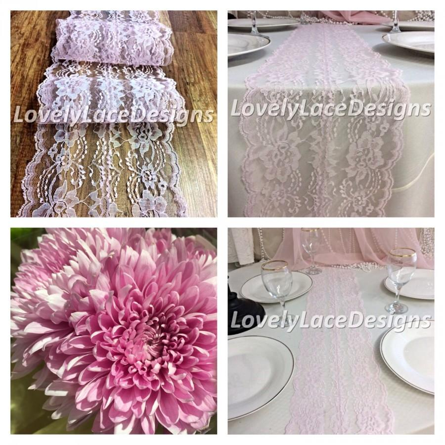 Hochzeit - WEDDING DECOR/ 5ft-10ft Blush Pink Lace Table Runner/Lace Overlay, Weddinds/etsy trends /Pink weddings/wedding ideas