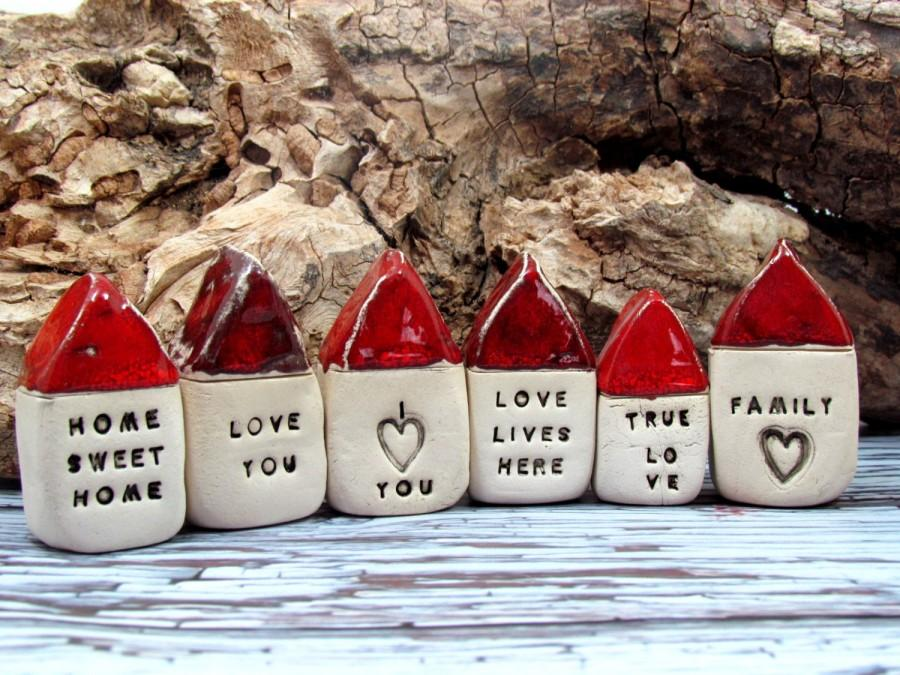Mariage - Message houses Miniature houses  Little rustic houses Red house Ceramic house Note house Mother's day