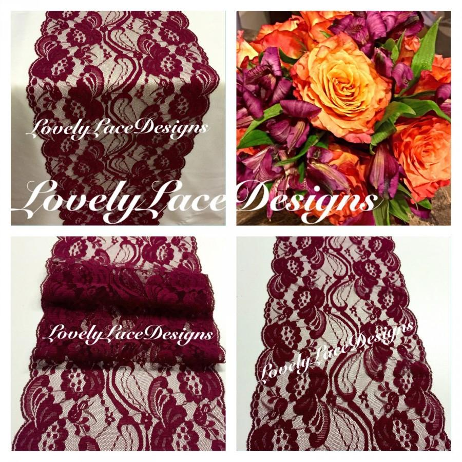 """Свадьба - FALL Burgundy/Wine Lace Table Runner/3ft-10ft x 7"""" Wide/Wedding Decor/ Lace Overlay/Tabletop Decor/Tabletop Decor/Autumn finds"""