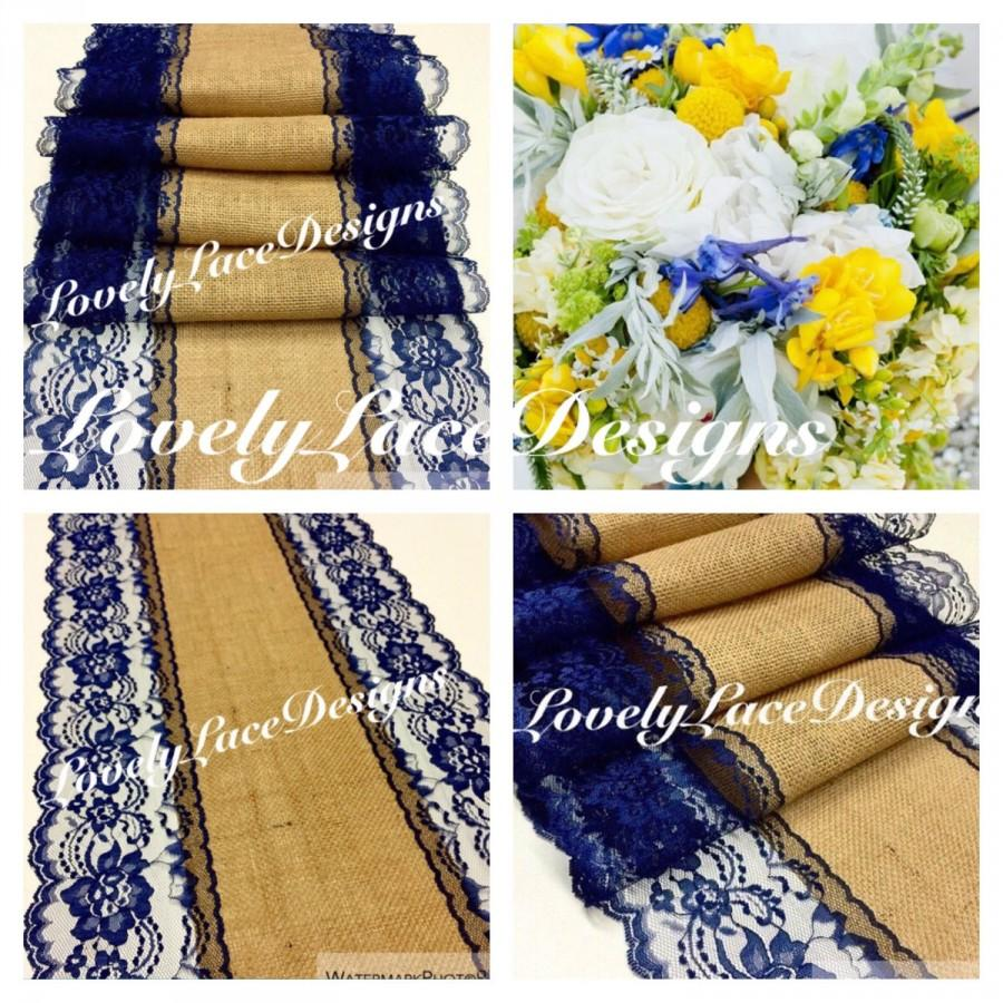 Navy Blue Burlap Lace Table Runner 4ft 10ft X13in Wide Wedding Decor Weddings Etsy Finds Trends Tabletop Rustic Fall