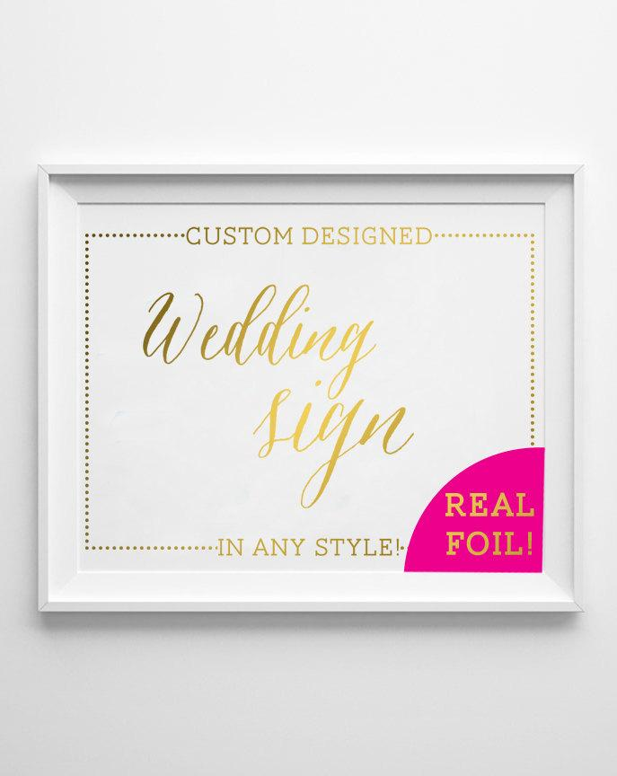 Custom Wedding Signs In Gold Foil Hashtag Sign Welcome Reception Guestbook Cocktails