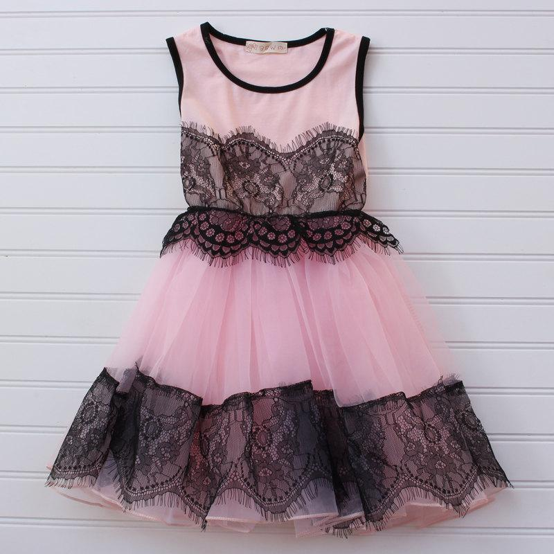 Clearance pink lace dress black lace dress pink black for Black and pink wedding dress