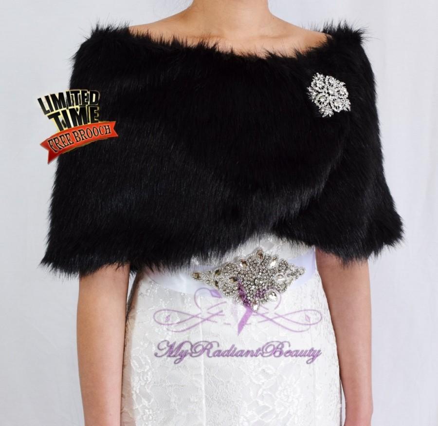 Faux Fur Wrap Bridal Black Stole Wedding Shrug Shawl Fw108 Blk