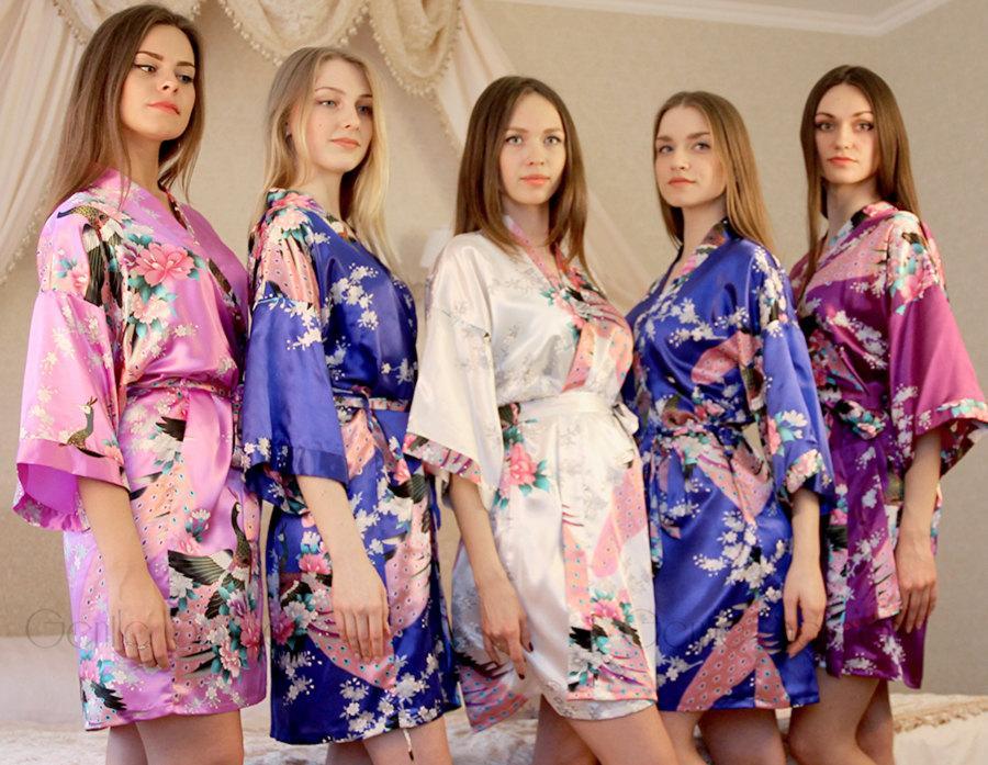 Mariage - Set of 10 Bridesmaid Satin Robes, Kimono Robe, Regular and Plus Size Robe, Fast Shipping from New York