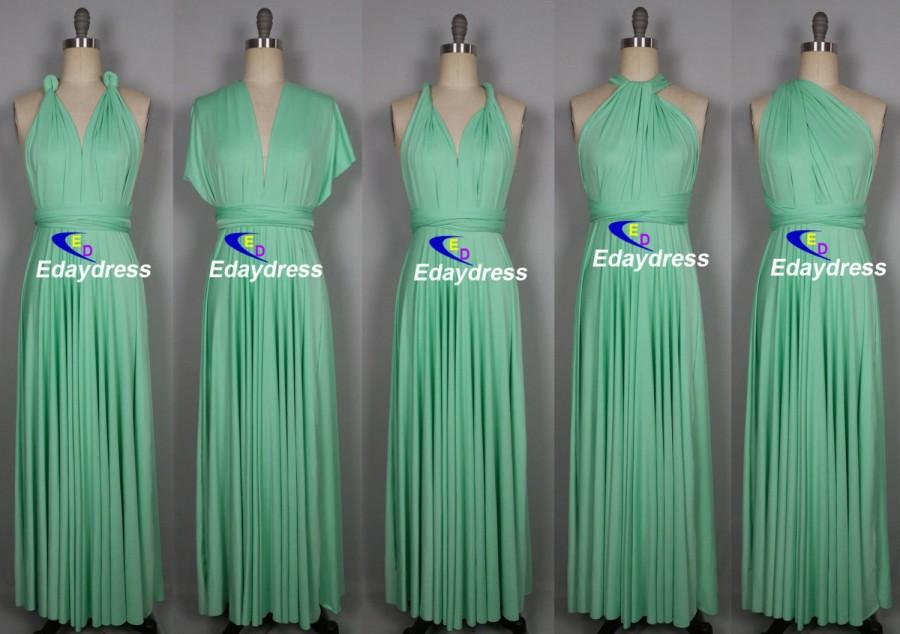 Mariage - Maxi Full Length Bridesmaid Mint Green Seafoam Infinity Dress Convertible Wrap Dress Multiway Long Dresses