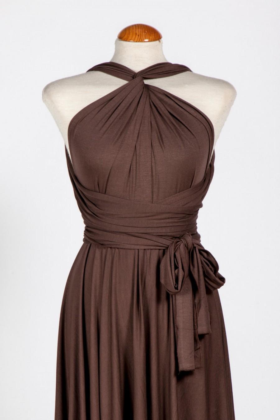 زفاف - Cocoa Braid Dress / Bridesmaid Dress / Dark Cocao Infinity Wrap Dress / Infinity Wrap Dress / Feminine Chocolate Wrap Dress