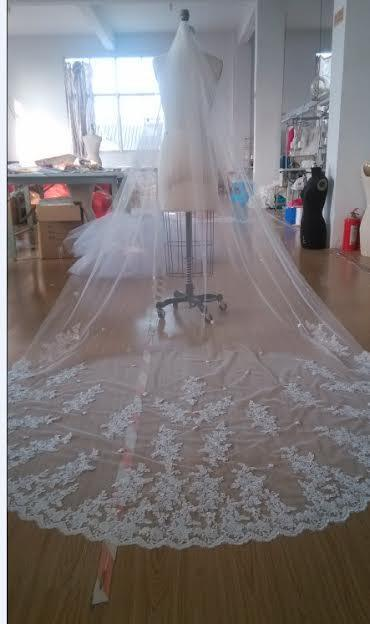 Mariage - Cathedral Length Beaded Lace Veil, Mantilla Wedding Veil, Bridal Veil, Sequined Veil, Long Lace Veil, Lace Bridal Veil, cathedral veil