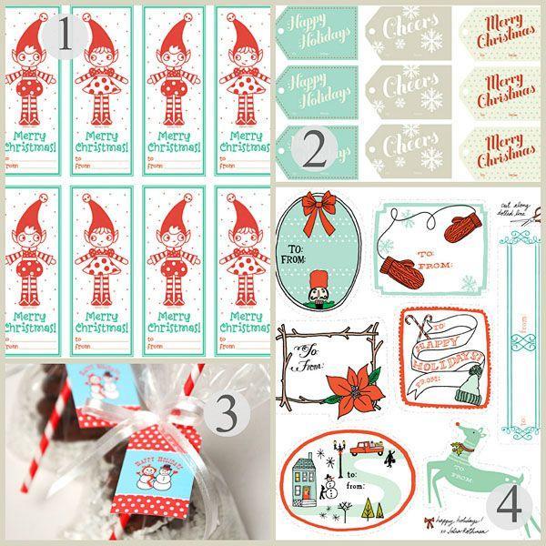 Wedding - Free Printable Christmas Gift Tags: Christmas Printables