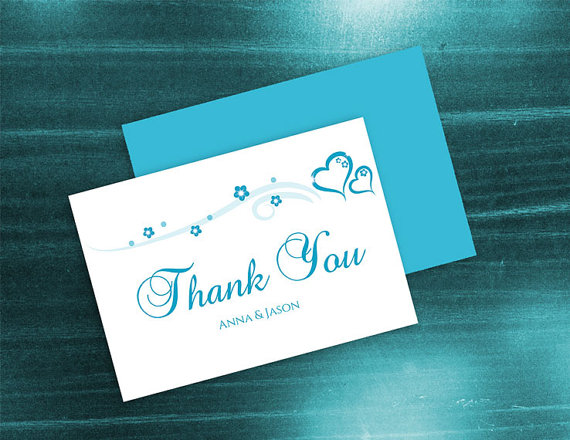 DIY Printable Wedding Thank You Card Template #2410844 - Weddbook
