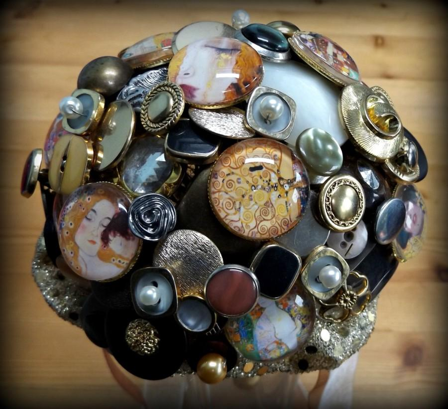 Mariage - Klimt inspired button bouquet. Small posy.