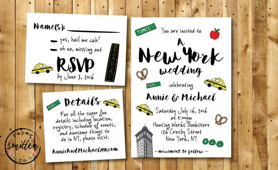 Fun NYC PRINTABLE Wedding Invitation Suite New York Wedding