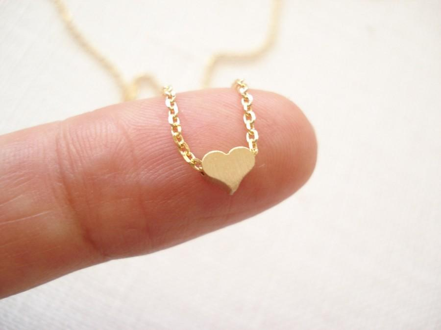 Tiny Heart Necklaceminimalist Gold Rose Gold Or Silver Simple