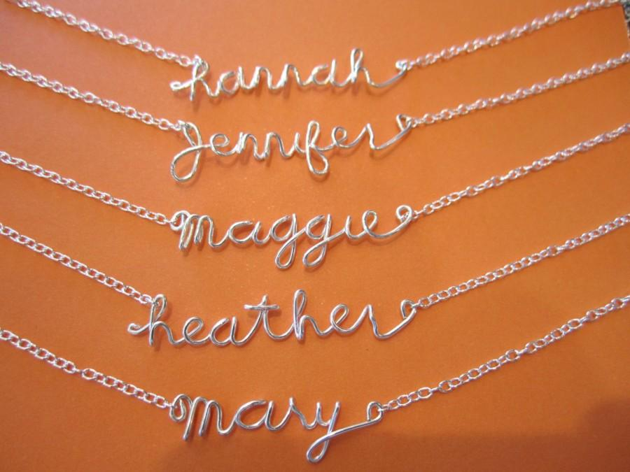 Свадьба - Sterling silver Personalized Wire Name Necklace, handmade jewelry, everyday, wedding, bridesmaid, flower girl's gift, best friends forever