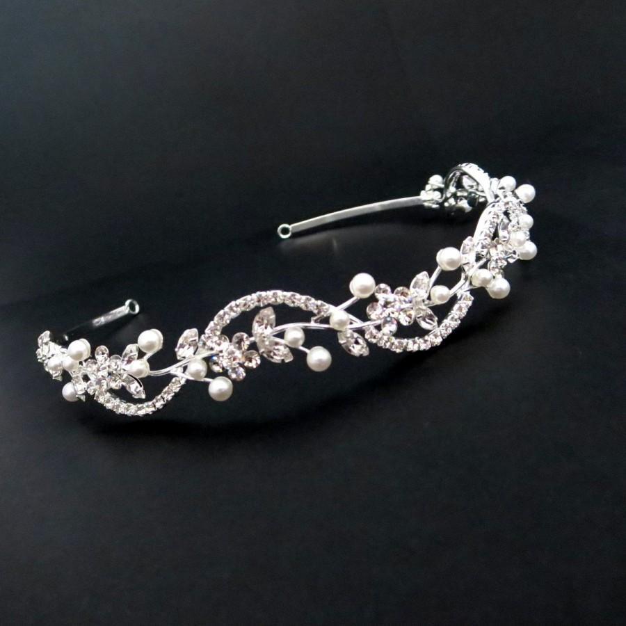 Mariage - Wedding headband, Bridal headband, Pearl headband, Rhinestone headpiece, Wedding headpiece, Crystal tiara, Swarovski crystal headpiece